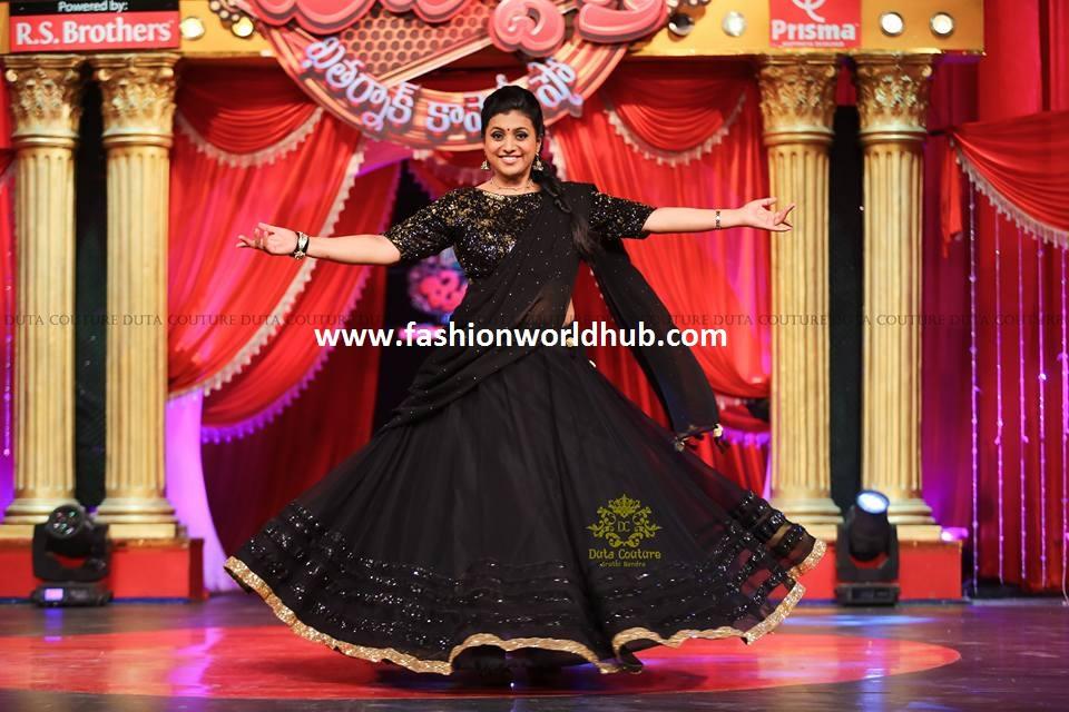 roja in black half sarees