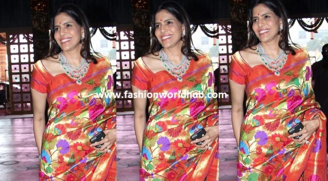 Shalini bhupal in floral diamond necklace.