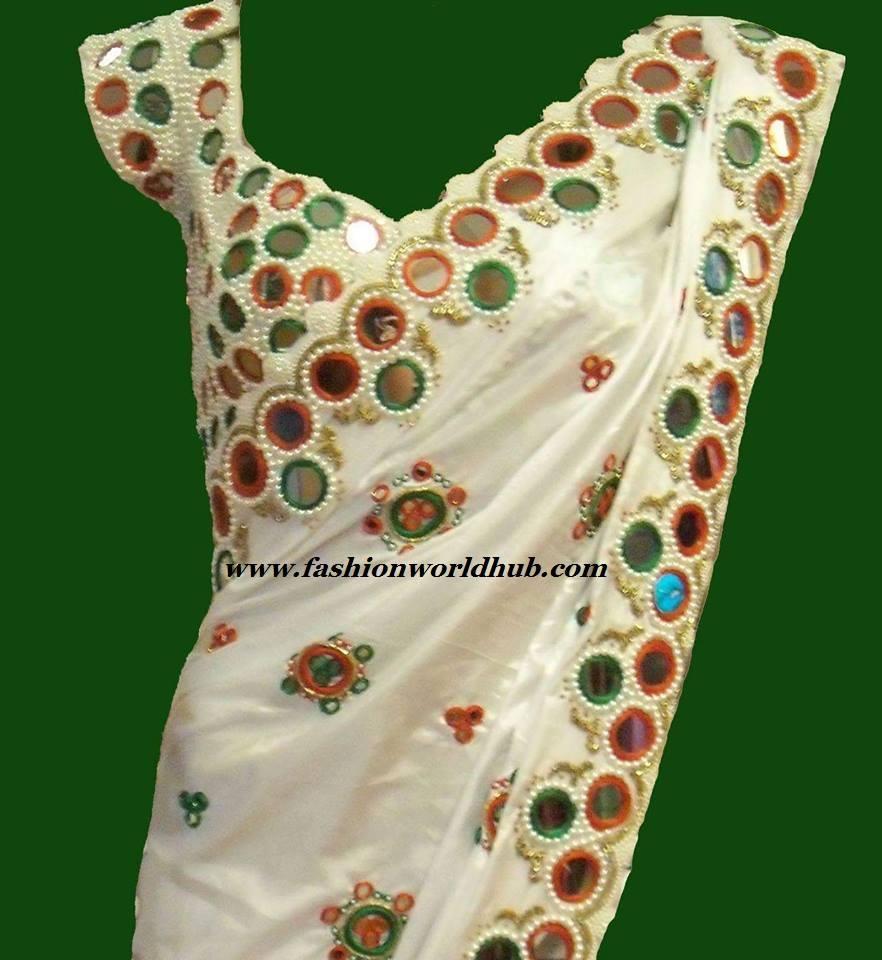 white mirror work saree