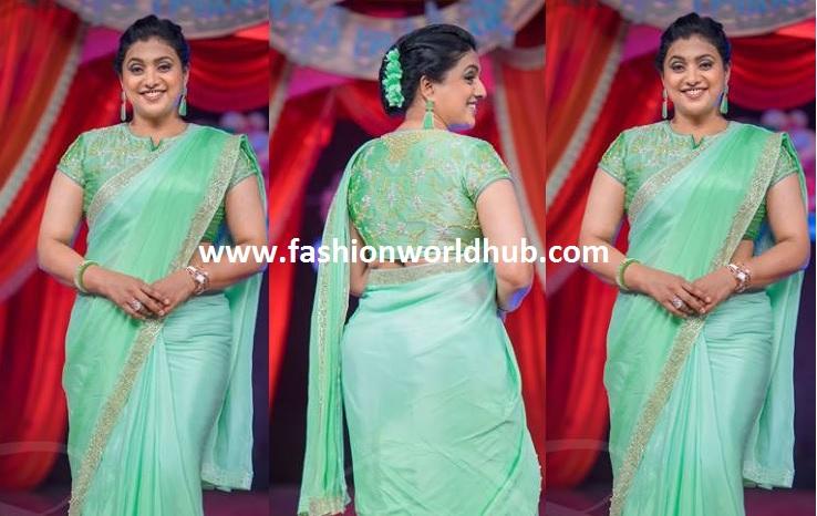 Pastel green saree