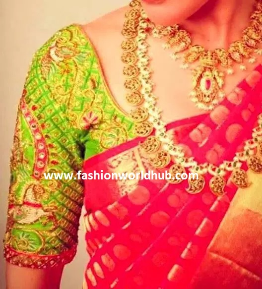 Red and green maggam work blouses