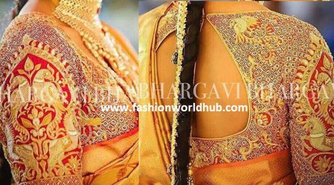Bird shaped Embroidery blouse – Bhargavi Kunam