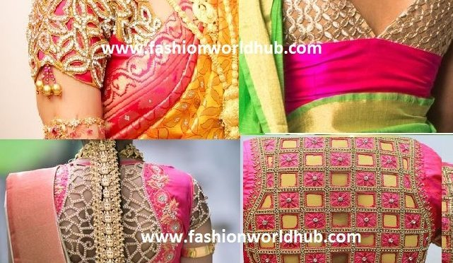 Cut work blouse designs on sheer net & other blouses~Bridal blouse designs~