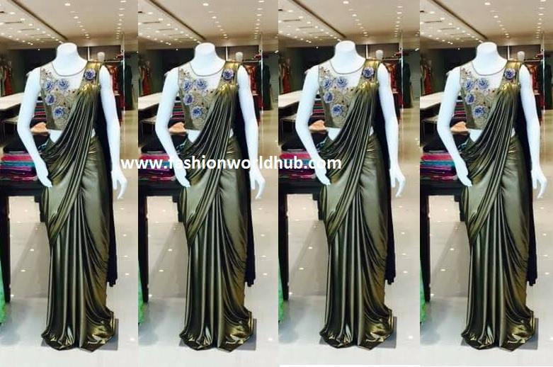 fashionworldhub - gold saree