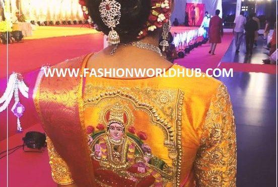 Goddess lakshmidevi  embroidery work blouse
