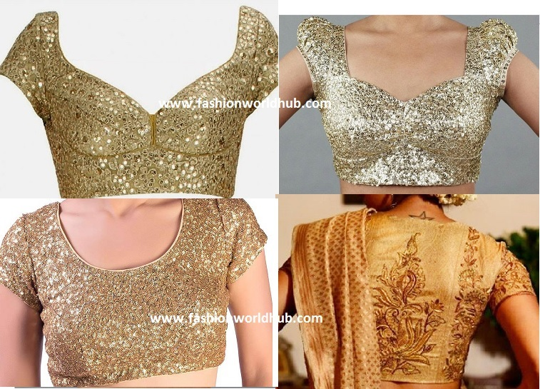 gold blouse designs