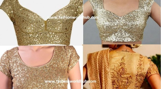 Gold blouse pattern for sarees