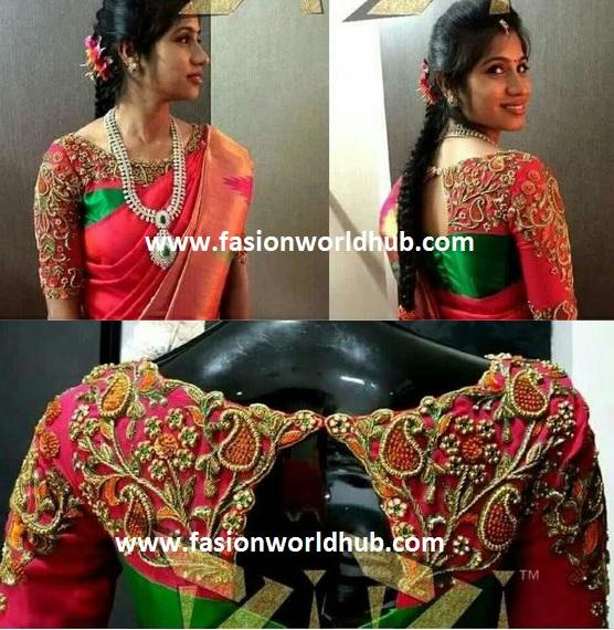 high neck maggam work blouse
