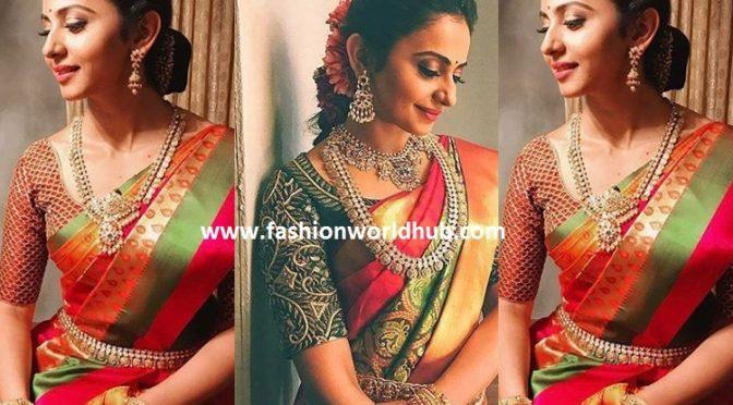 Rakul preet singh in Kanjeevaram Saree & Polki diamond kasulaperu!