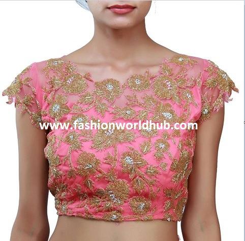 peach work blouse- fashionworldhub