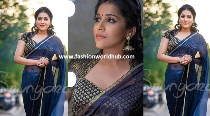 Rashmi goutham in Plain saree & Brocade blouse -Srungarapu boutique