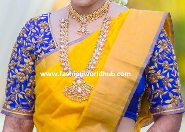 yello and bloue kanjeevaram saree