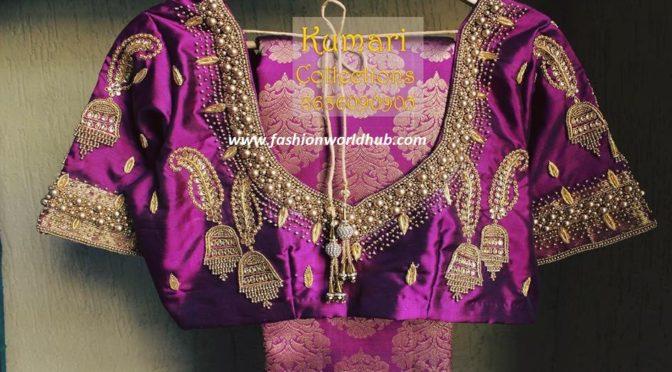 Purple berry kanjeevaram saree with jumkha designed blouse!