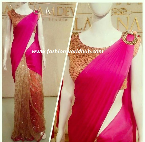Pink and gold saree23