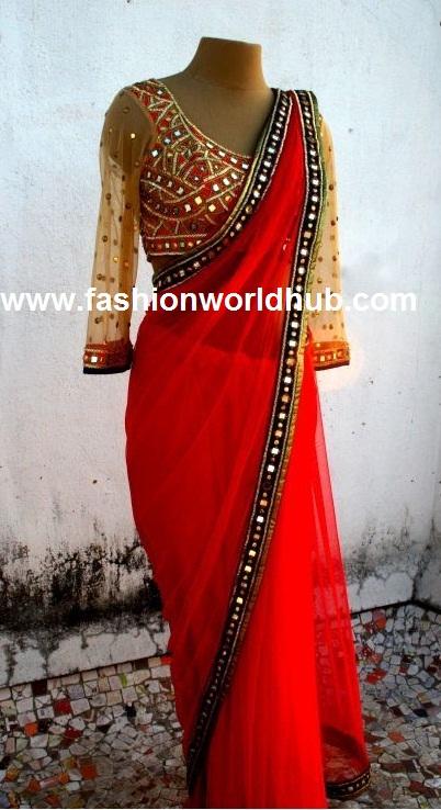 Red plain saree with kutch work border