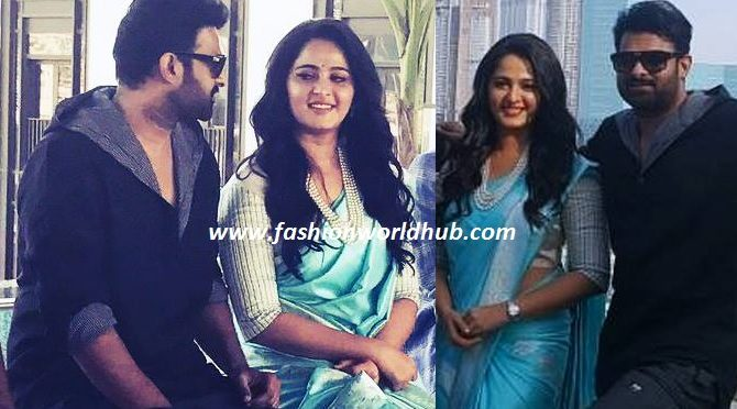 Anushka Shetty in blue banaras saree ( For baahubali 2 promotions at dubai)