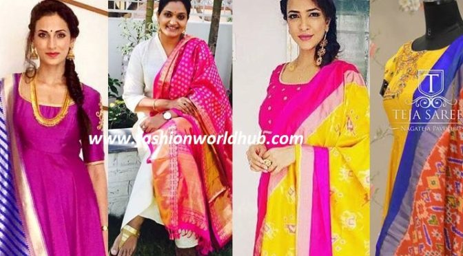 Trending duppata's with Simple Anarkali's