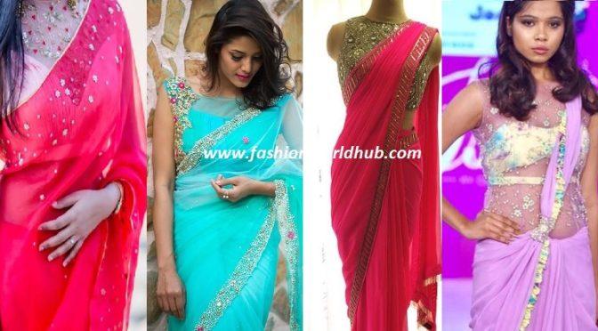 Beautiful Plain Saree & Designer blouses ~Fashion boutique stores!~