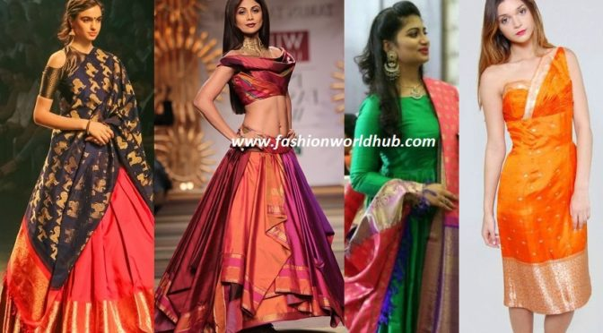 How to reuse old Pattu sarees to posh Anarkalis , Long skirts & other outfits ( Watch video)