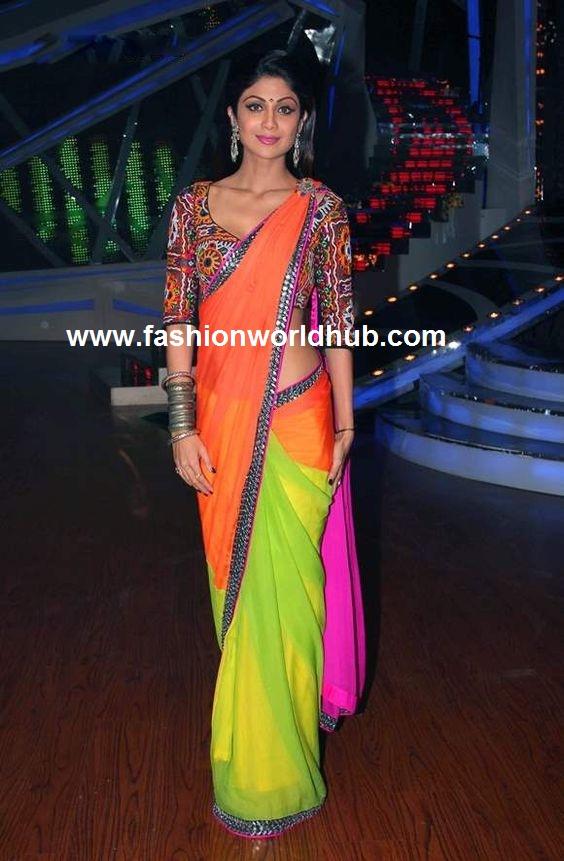 shilpa shetty plain saree with kutch work blouses
