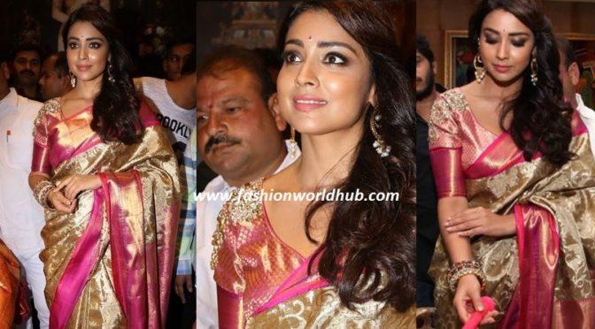 Shirya Saran In Gold & Pink Kanjeevaram saree at VRK Silks Store Launch