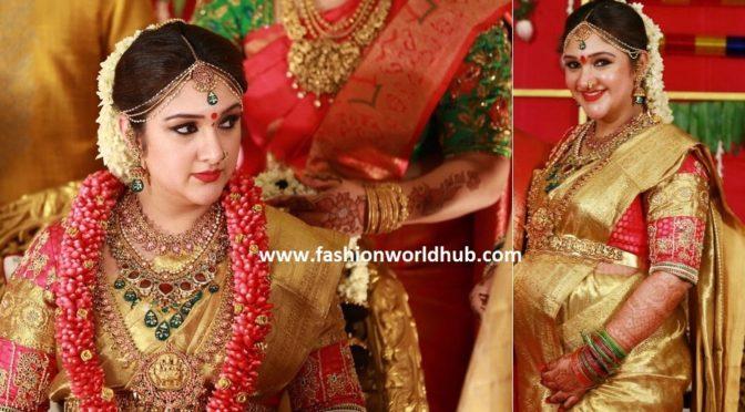 Sridevi Vijay kumar Sreemantham Saree designed by Golden Threads