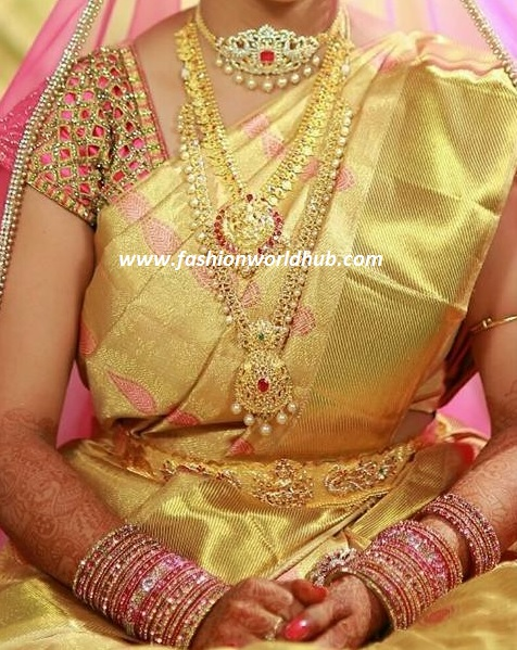 Gold and pink blouse cut work