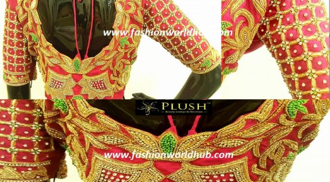 Heavy Bridal maggam work blouse- Plush boutique.