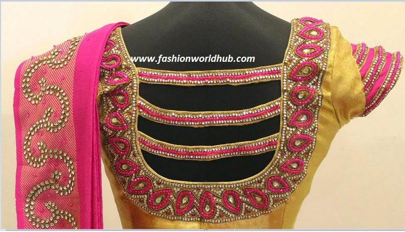 kundan and stone work blouse-2