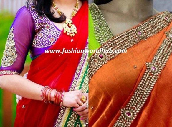 kundan work blouse desgins