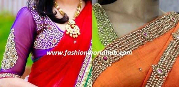 Kundan work blouse designs!