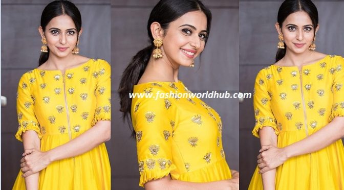 Rukul preet singh in Yellow Floor length gown