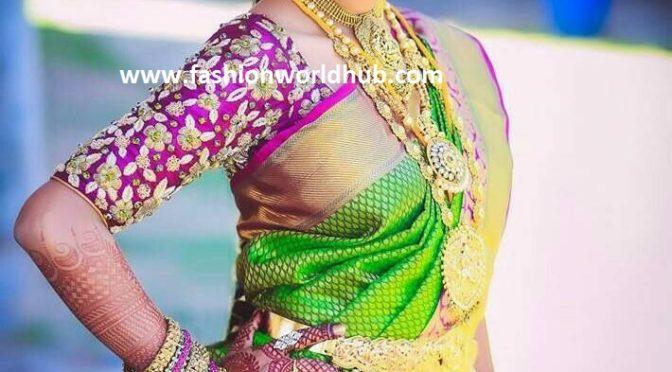 Hot Trend Floral Zardosi blouse designs!