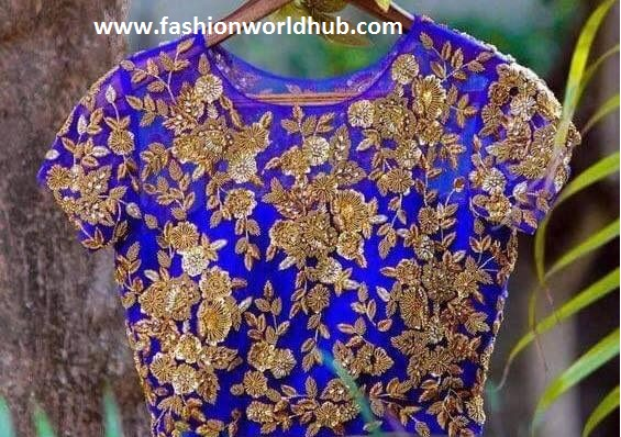 floral zardosi work design