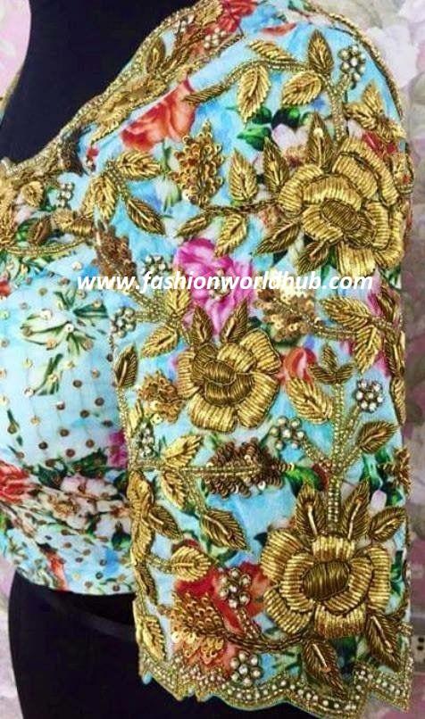 floral zardosi work design