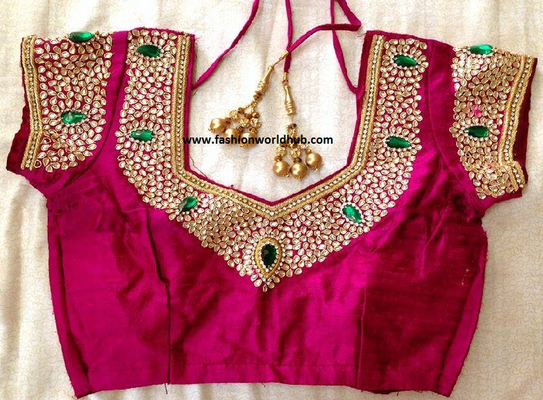 kundan work blouse designs