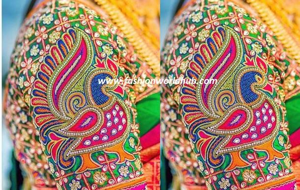 peacock maggam work blouse