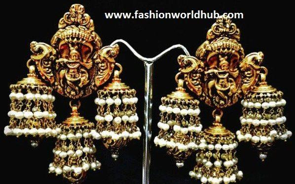 Antique Lord Krishna Jhumkis