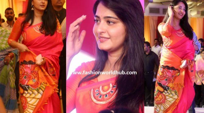 Anushka Shetty in Shravan Kummar silk saree.