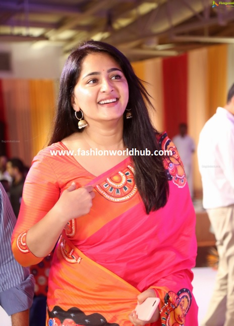 Anushka Shetty In Shravan Kummar Silk Saree Fashionworldhub