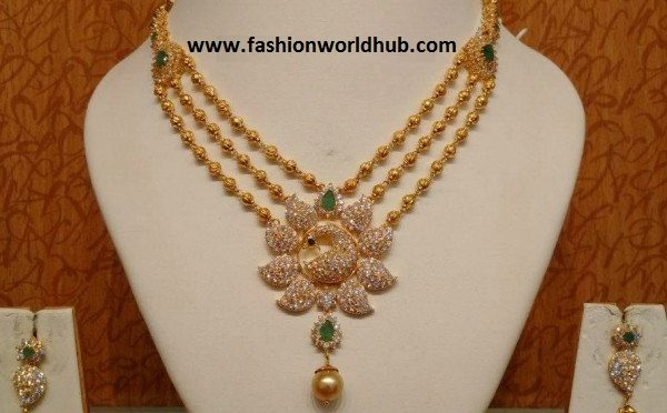 Gold Balls Necklace with CZ Peacock Pendant