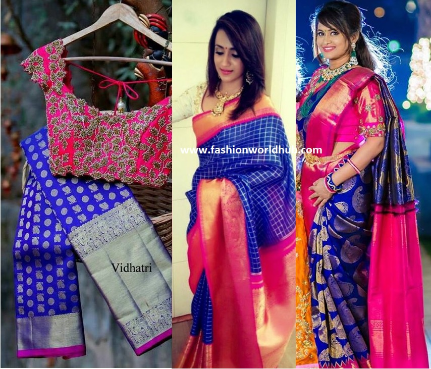 Blue And Pink Combination Kanjeevaram Saree
