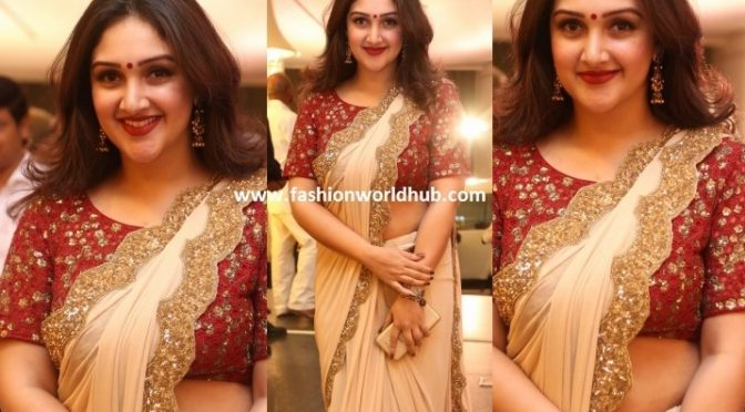 Sridevi vijaykumar in Cream Designer saree