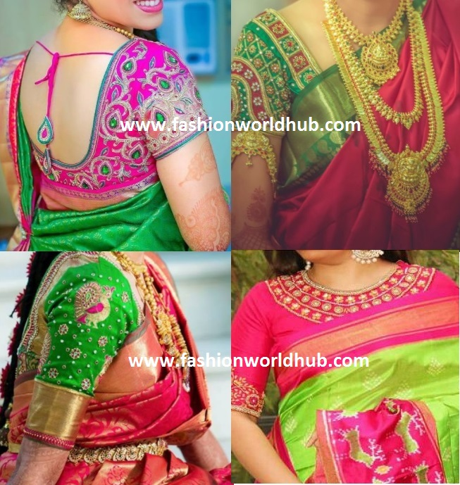 df51f77a387ca5 Hope the above contrast colour blouse combinations with kanjeevaram sarees  will help you to try out for next function.
