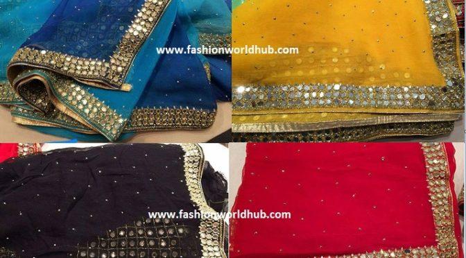 Glass Mirror work saree with mirror work blouse.