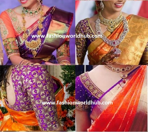 Stunning contrast blouse combinations for kanjeevaram - Violet and orange combination ...