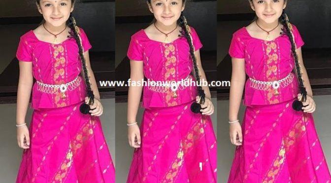 Mahesh babu daughter Sitara in Pink lehanga on her 5th birthday!