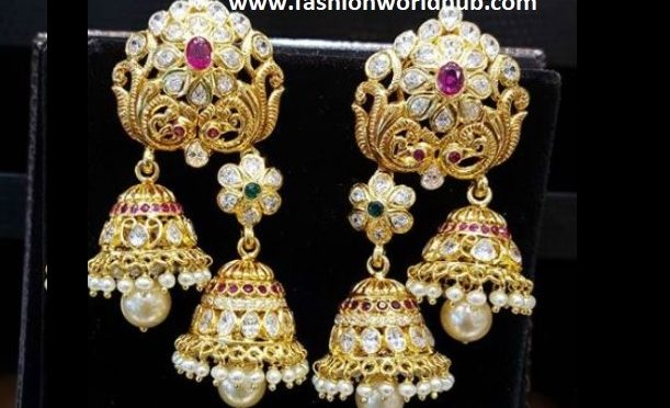 Uncut diamond jumkhi ear rings