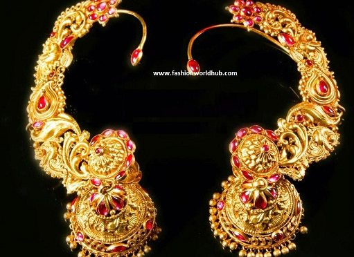 Ear covered Gold Jhumkas