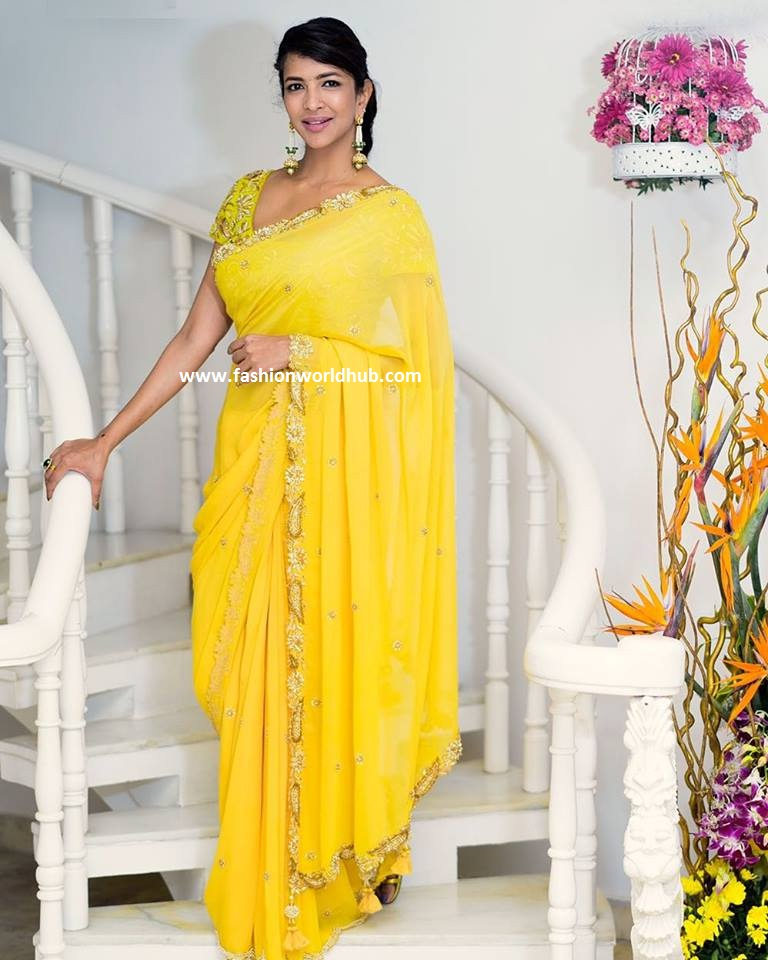 Lakshmi Manchu In Yellow Embroidered Saree Fashionworldhub